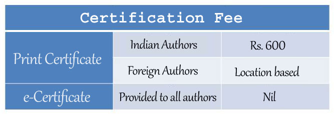 Fee for Certificate of Publication - IJARIIT