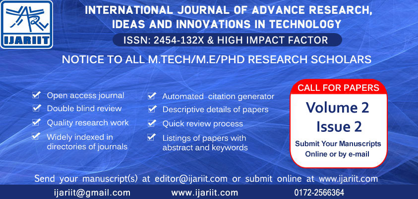 Volume 2 Issue2 - Call For Papers - IJARIIT