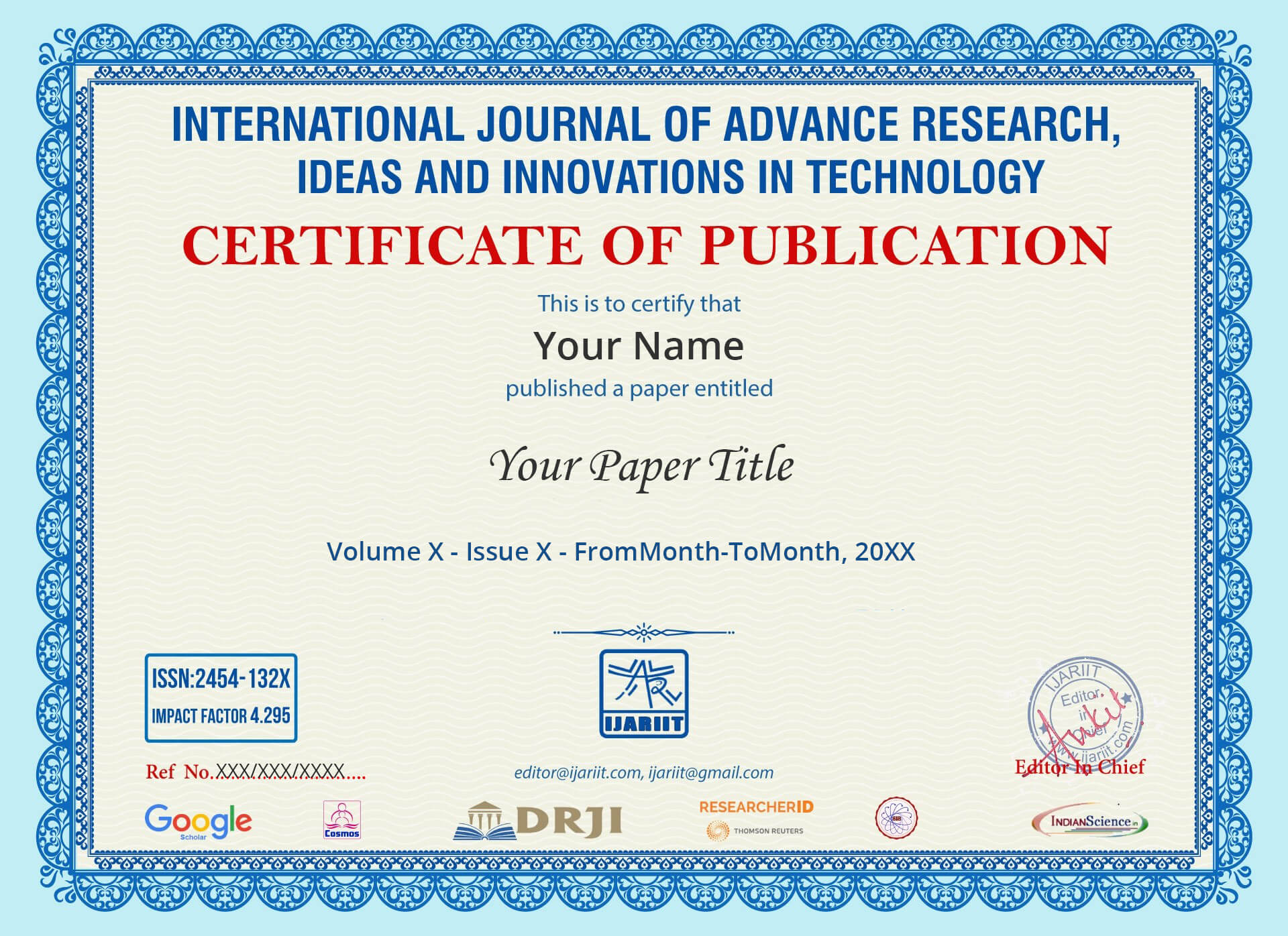 Current Issue - Paper Publication in IJARIIT International Journal